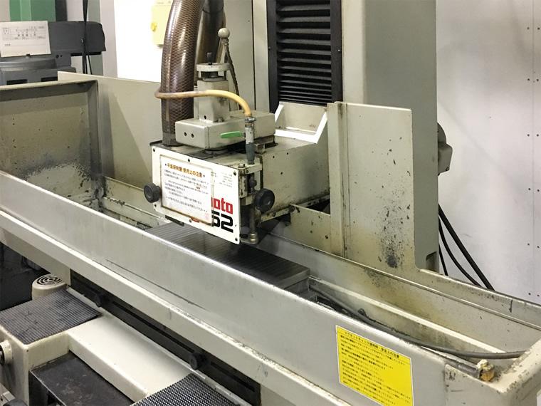 研磨機の研磨加工部分アップ